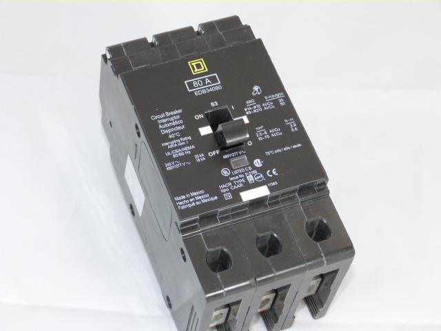 EDB34080 Square D Circuit Breaker 3 Poles 80 Amp 480//277V  EBD BOLT ON USED